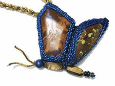 Koroit Boulder Opal Beaded Butterfly Necklace by BeadedNature, $410.00
