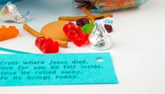 Easter Story Mix––Share with friends and neighbors!    pretzel sticks (represent the Cross)  Hershey's Kisses (God's love for you)  dried cranberries (the blood He shed)  vanilla wafers (stone that rolled away)  gummy bears or jellybeans (your new life in Christ) . . . Love this Susie!! Great pin!