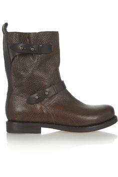 Rag & bone|Textured-leather biker boots|NET-A-PORTER.COM