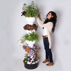 This futuristic five foot tall vertical garden tower grows up to 40 fruit, vegetable, herb, flower, and other plants year round in only 2 square feet of space using a hydroponic watering system - no potting soil required.