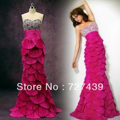 Luxury Fashion New Hot Sexy Elegant Western Scales Fish Tail Bride Evening Dress Tube Top Long Design Mermaid Princess $243.25