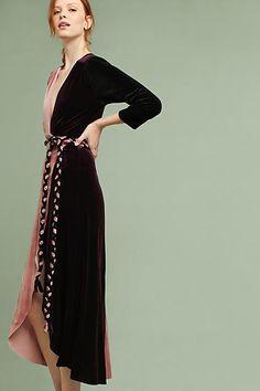 #affiliatead -- MISA Colorblock Velvet Wrap Maxi Dress -- #Chic Only #Glamour Always