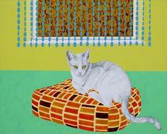 'kat på marokkopude' - akryl og blyant på lærred, 65 x 80 cm Kat, Kids Rugs, Paintings, Home Decor, Decoration Home, Kid Friendly Rugs, Paint, Room Decor, Painting Art