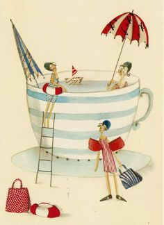 cup, friends, hot, ilustration, happy