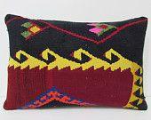 kilim lumbar pillow 16x24 tapestry pillow case kilim pillow set boho chic throw pillow vintage fabric wool cushion cover floral pillow 22288