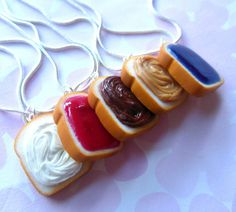 Fimo - set of 5 peanut butter grape jelly nutella fluff and strawberry jam best friend necklaces polymer clay bff