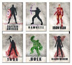 avengers silhouette  - captain america, hawkeye, iron man, thor, hulk, black widow