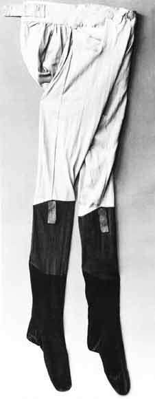 "English ""tights"" - knit pants with attached stockings,  from between 1790 and 1820."