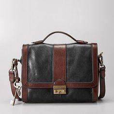 So beautiful! Vintage Re-Issue Flap with Lock in Black/Brown by Fossil, $188.00