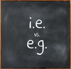 """They may be small, but their power to befuddle writers and speakers of the English language is mighty: what's the difference between i.e. and e.g.? And what are the correct uses of these commonly confused abbreviations? The term i.e. is a shortening of the Latin expression id est, which translates to """"that is."""" It is used to introduce a rephrasing or elaboration on something that has already been stated: """"I like citrus fruits, i.e., the juicy, edible fruits with leathery, aromatic rinds of…"""