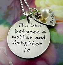 Love Between Mother and Daughter Necklace - Sterling Silver - Hand Stamped Personalized Jewelry by RoseCreekCottage Christmas Gifts For Grandma, Grandma Gifts, Mother Daughter Jewelry, Mom And Grandma, Mother Quotes, Hand Stamped Jewelry, Metal Stamping, Personalized Jewelry, Special Gifts