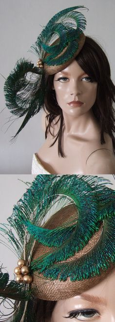 #Hats#Gold and Green Peacock Feather Fascinator, Hatinator headpiece. Perfect for a Mother of the Bride or day at the races. Royal Ascot, Kentucky Oaks or Derby, Melbourne Cup or other race meetings. Wedding guest outfits ideas inspiration. #fascinators #kentuckyderby #derbyhats #royalascothats #ascothats #ascotoutfits #derbyoutfits #motherofthebride #weddings #fashion #fashionista #designerhats #peacockfascinators