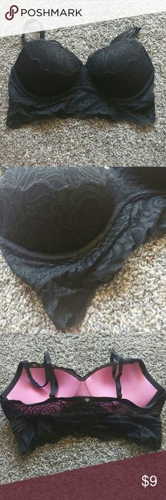PINK Lace Bralette This is an all black lace push up bralette that does have half adjustable straps. It is a size medium so it would fit a bra band size of a 34 and up to a D cup. PINK Victoria's Secret Intimates & Sleepwear Bandeaus