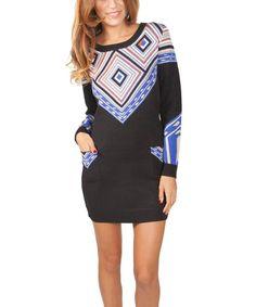 Another great find on #zulily! Black & Purple Geo Sweater Dress by Yuka Paris #zulilyfinds