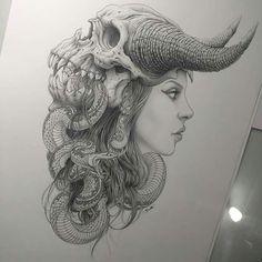 would make a wicked awesome headdress for halloween Back Tattoos, Music Tattoos, Dream Tattoos, Small Tattoos, New Tattoos, Body Art Tattoos, Skull Art, Skull Head, Tattoo Sketches