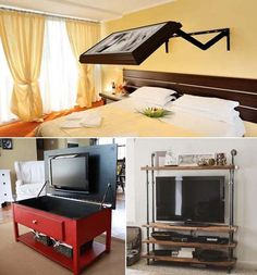 Tv Escondida, Best Tv Wall Mount, Tv Options, Bedroom Tv Wall, Hidden Tv, Tv Decor, Home Decor, Framed Tv, Tiny Bathrooms