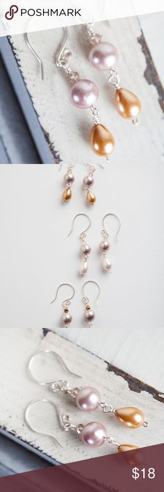 Nude Champagne Pearl Silver Earrings HANDMADE Champagne pearl earrings made with pretty pink pale glass round pearl with champagne teardrop pearl on silver. A great pair of earrings that transitions from weekday to weekend so you don't have to overthink how to accessorize your wardrobe!   Summer Wildflower Earrings Length measures 1.89 inches (45mm)  Handmade by me! From Bees and Buttercups on etsy. This one of a kind item is not listed anywhere else ! Bees and Buttercups Jewelry Earrings