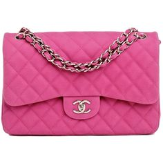 Chanel Hot Pink Matte Quilted Caviar Classic 2.55 Jumbo Double Flap... ($6,200) ❤ liked on Polyvore featuring bags, handbags, chanel, purses, bolsas, accessories, pink quilted bag, pink bag, hot pink handbag and chanel handbags