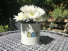 Items similar to Wedding Table Centrepiece - Hand painted Beach Hut Tin on Etsy Table Centers, Coffee Pods, Wedding Table Centerpieces, Centre Pieces, Hand Painted, Beach, Prints, Celebrations, Flowers