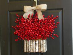 fall wreaths Christmas wreath berry wreaths birch by aniamelisa, $25.90