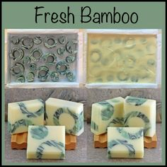These beautiful handcrafted cold process soaps are now on the curing rack and will be ready late July 2015. Embeds are created from a slab of swirled soap that was cut into the circular pieces after a 24 hour setup. Then placed into the large slab mold where a new batch of soap was poured over them. Set for 24 hours, then cut, trimmed and cleaned up to get the finished bars of soap. Lots of greens, yellow and black in a beautiful and fresh bamboo fragrance. By Alaiyna B. Bath and Body