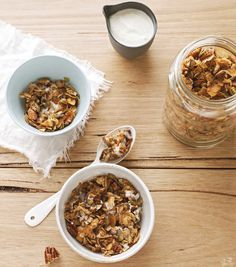 Oat and sugar free granola!  The bulk of it is shaved coconut and nuts. Adding some fruit on top takes out the need to add a bunch of sugar. Coco-Nutty Granola | Wellness Today