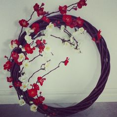 Willow wreath with cherry blossom strands Willow Wreath, Strands, Cherry Blossom, Wreaths, Cake, Crafts, Pie Cake, Pie, Manualidades