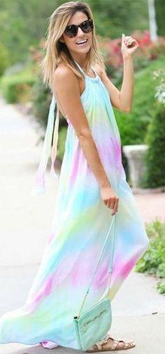 Totally Beachin' Tie-Dye Halter Maxi Dress - Lulu's