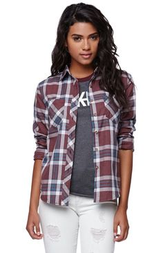 "The women's Burnout Plaid Shirt by LA Hearts features a plaid pattern throughout and two front pockets. We love the super soft fabric and rolled sleeves. Wear this closet staple with our denim and sandals for an easy casual look!	26"" length	22"" sleeve length	Measured from a size small	Model is 5'9"" and wearing a small	80% polyester, 20% cotton	Machine washable	Imported"
