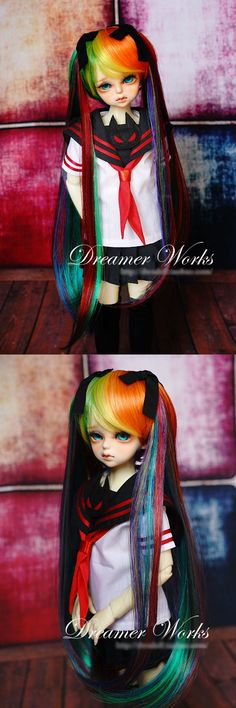 BJD Wig 1/4 Female Mixed Color Long Wig for MSD Size Ball-jointed Doll_WIG_Ball Jointed Dolls (BJD) company-Legenddoll