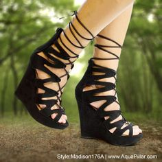 f6cae7ae0fe Women s gladiator inspired corset lace up sandal on platform wedge with leg  wrap laces and zipperd