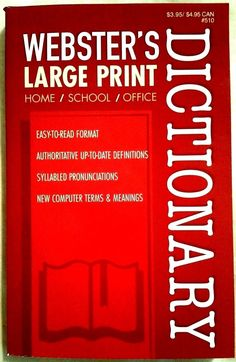 Webster's Dictionary Large Print School Home Office Pocket Paperback USA Printed Websters Large Print Dictionary USA  printed in 2015 Great for all uses. Item is 8.5 inches x 5.25 inches in size. 258 pages in English Large Print Pocket Edition Limited words Due to size, good for Home Office and School. See photos for Large print size. New, purchased for resale by Keywebco Video inspected when shipped Ships Fast and Free from the USA The stock photo may include additional items for display…