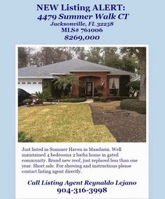 Just Listed: 4479 Summer Walk Ct, Jacksonville, FL 32258 brought to you by INI Realty Investments Inc., the first 100% Commission Real estate Office in Jacksonville, FL. www.100RealestateJax.com
