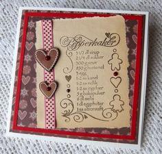 Ginger bread receipe stamp Christmas Craft Projects, Ginger Bread, Crafts To Make, Stamp, Cards, Decor, Decorating, Stamps, Inredning