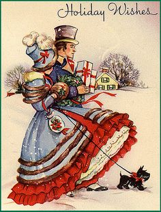 Regency Christmas Shoppers with Scotty--Vintage Christmas Illustration. Follow me this season for all the best Christmas decorating tips and tricks - it's the Interiorator Cool 'n Cosy Christmas special brought to you by #Intratuin over on http://interiorator.com/interiorator-cool-n-cosy-christmas-brought-intratuin/
