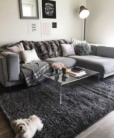 34 Awesome Small Living Room Decor Ideas And Remodel For Your First Apartment. If you are looking for Small Living Room Decor Ideas And Remodel For Your First Apartment, You come to the right place. Small Apartment Living, Cozy Living Rooms, Living Room Modern, Living Room Designs, Living Room Ideas For Apartments, Small Apartments, Cool Living Room Ideas, Grey Living Room Inspiration, Living Room Shag Rug
