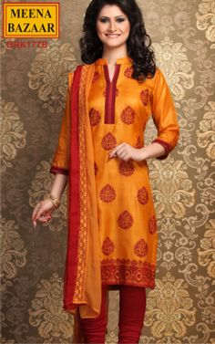 Embroidery Suit on Tussar Fabric with Chiffon Duppata