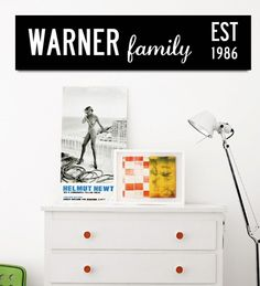 """Personalised Family Sign by I Love Design and promoted on WeShop by ladyblahblahs:  """"It looks really stylish in my sisters hallway and she is so proud of it. The simple black and white design means it will fit in with any colour scheme.""""  Buy it here on WeShop:  http://www.inthepowderroom.com/marketplace/product/personalised-family-sign/#"""
