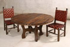 Taurino Oxbow Dining Table Western Dining Tables - Rugged Western style round dining table with muscular plank top. Base has oxbow designed legs. Available in 5 sizes, all 30 inches in height.