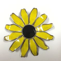 Vintage Massive Big Mod 60's Enamel Flower Brooch Pin Lot Sunflower Yellow  Dellagraces Vintage Jewerly