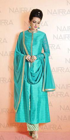 5e86fd62dc Buy Online Exclusive Designer Plazo Suit or shuits Turquoise Color