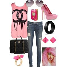 Pink Chanel inspired outfit <3 top available at www.shopllb.com