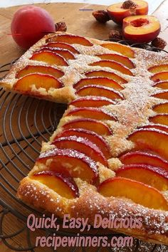 Peach Frangipane Tart - #frangipaneamandefacile - Golden butter puff pastry layered with frangipanes sweet almond and heady aroma, topped off with ripe summer peaches, lightly dusted with sugar is simplicity itself.... Easy Tart Recipes, Almond Recipes, Baking Recipes, Butter Puff Pastry, Puff Pastry Recipes, Köstliche Desserts, Dessert Recipes, Frangipane Tart, Sweet Pie
