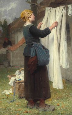 Painting by Désiré François Laugée. Clotheslines are so charmingly old fashioned. Sunlight kills germs and whitens white fabric. And there is nothing like the smell of laundry fresh from the clothes line. Laundry Art, Smelly Laundry, Laundry Lines, Vintage Laundry, French Artists, Portrait, Hanging Out, Les Oeuvres, Art Gallery