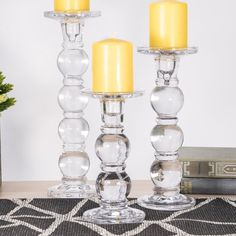 Bubble Glass Candlesticks, Pillar & Taper Candle Holders, Set of 3 Candle Lanterns, Candle Sconces, Pillar Candles, Taper Candle Holders, Chandelier, Glass Candlesticks, 3 Piece, Wedding Decoration, Clear Glass