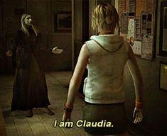 Heather Mason meeting Claudia Wolf in Silent Hill 3 Silent Hill Art, Heather Mason, Video Games, Dark Art, Thriller, Catholic, Funny Stuff, Wolf, Horror