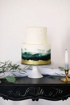 30 Sophisticated Emerald Green Wedding Ideas emerald greenery wedding cakes This image has get Buffet Dessert, Watercolor Wedding Cake, Emerald Green Weddings, Emerald Wedding Theme, Wedding Blue, Bolo Cake, Green Cake, Green Tux, Blue Green