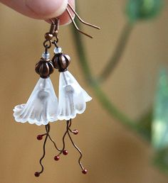 Snow White Bridal Earrings. Large Frosted Trumpet Flower. Antique Copper Metal Beads and Wire with RED Detail