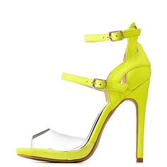 neon yellow top buckle strap open toe look 6 inch platform high ...