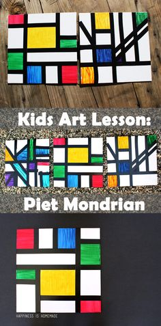 Kids Homeschool Art Lesson: Piet Mondrian This homeschool art lesson teaches you about Dutch modern abstract artist Piet Mondrian and includes a simple kids art activity that's perfect for all ages! Art Lessons For Kids, Art Activities For Kids, Art Lessons Elementary, Preschool Art Lessons, Kids Art Class, Color Art Lessons, Painting Activities, Elementary Schools, School Art Projects